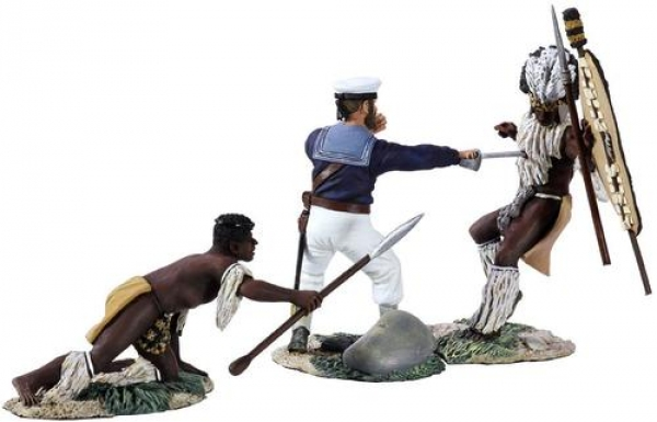 """20129 - """"Seaman Aynsley's Demise"""" - Hand-to-Hand Set with Seaman Aynsley and Two Zulus"""
