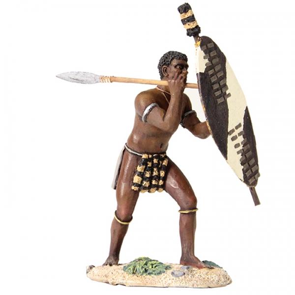 20154 - ZULU WARRIOR BEATING SHIELD WITH SPEARZulu Shield Drawing