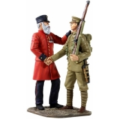 """23059 - """"THE VETERN'S FAREWELL"""" - 19TH CENTURY VETERAN SENDING YOUNG LAD TO WAR IN THE 20TH CENTURY"""
